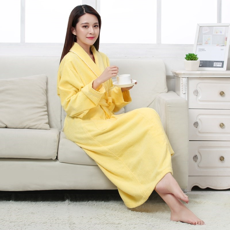 100% Cotton Toweling Terry Long Robe Soft Bath Robe For Women Nightrobe Sleepwear Female Autumn Winter Casual Home Bathrobe
