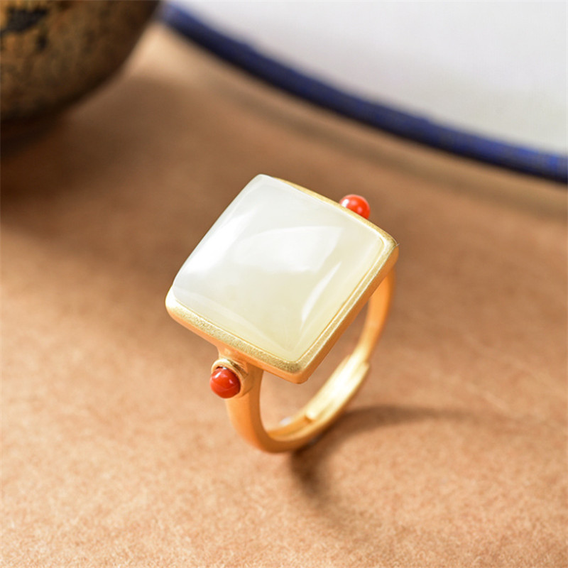 Uglyless Cutting Simple Big Gemstones Square Rings for Women Natural Jade Noble Purple Crystals Open Ring 925 Silver Dress Jewel