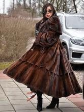 FURSARCAR 2020 New Real Mink Fur Coats Women Whole Skin Thick Warm Mink Fur Jacket For Female Long Style Luxury Nature Fur Coat