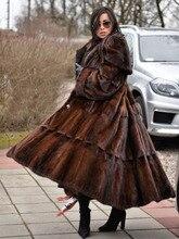 FURSARCAR 2020 yeni gerçek vizon kürk palto kadınlar tüm cilt kalın sıcak vizon kürk ceket kadın uzun tarzı lüks doğa kürk ceket