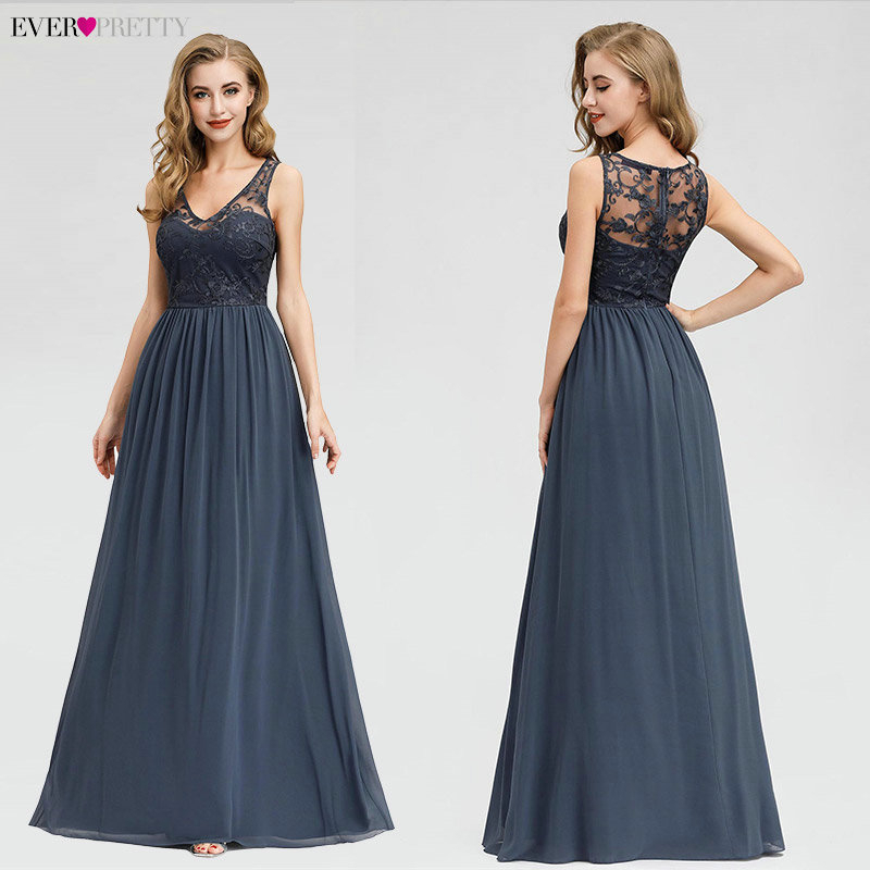 Elegant Lace Evening Dresses 2019 Ever Pretty EZ07999DN A-Line V-Neck Sleeveless Formal Long Dresses Abiye Vintage Party Gowns