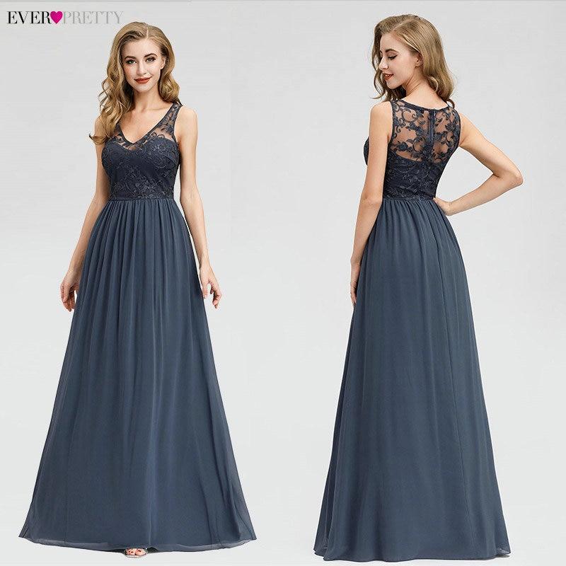 Elegant Lace Evening Dresses 2020 Ever Pretty EZ07999DN A-Line V-Neck Sleeveless Formal Long Dresses Abiye Vintage Party Gowns
