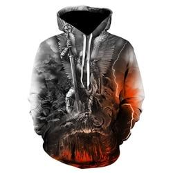 Men clothes 2020 Skull Hoodie Men/Women Angel Demon War 3D Print Hoodies Cool Sweatshirt Autumn Winter Casual Hooded Tops