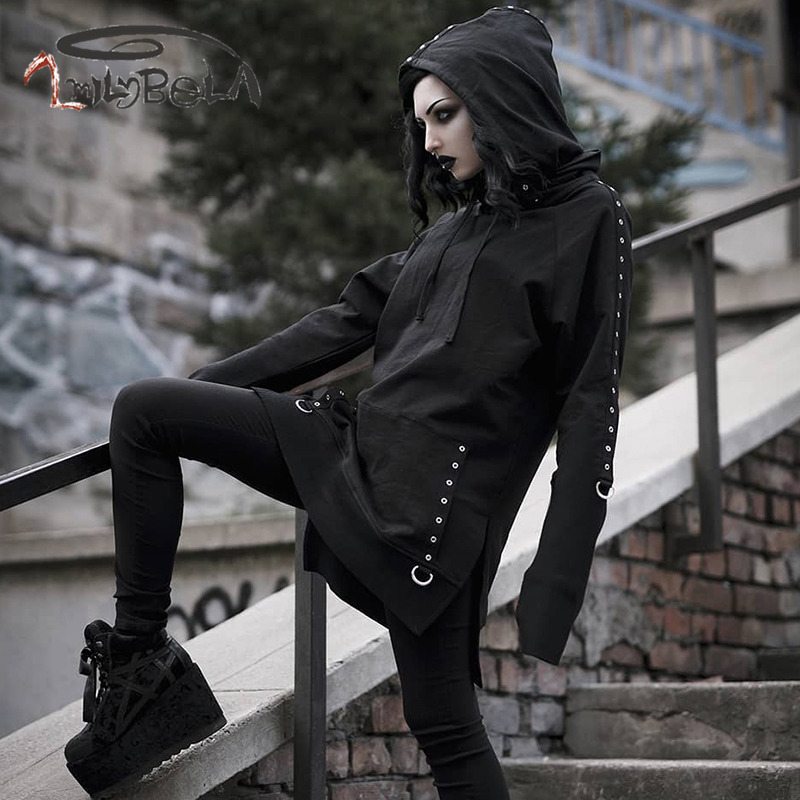 Imily Bela Gothic Casual Hoodies Women Loose Oversize Long Hooded Sweatshirt Button Pocket Drawstring Black Pullover Streetwear