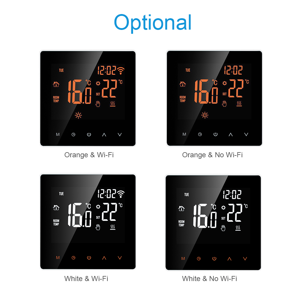 Wi-Fi / No Wi-Fi Smart Thermostat Digital Temperature Controller APP Control LCD Touch Screen Programmable Heating Thermostat