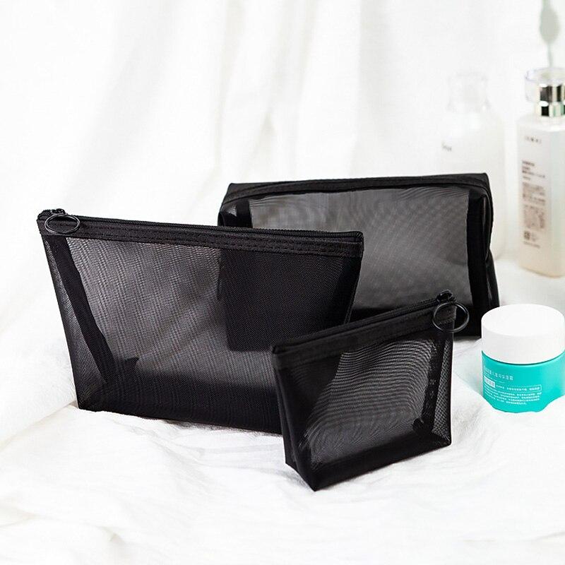 1 pièces femmes hommes nécessaire sac cosmétique Transparent organisateur de voyage mode petit grand noir sacs de toilette pochette de maquillage