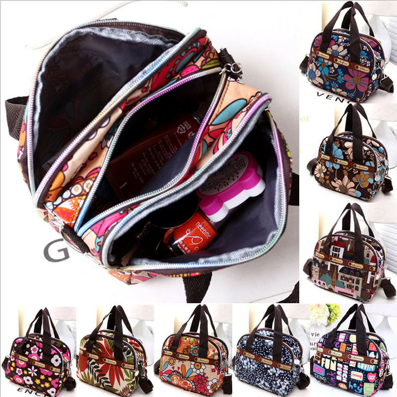 Women Portable Canvas Large Cosmetic Bags Makeup Organizer Print Zipper Bag Female Cell Phone Toiletry Beauty Handbags
