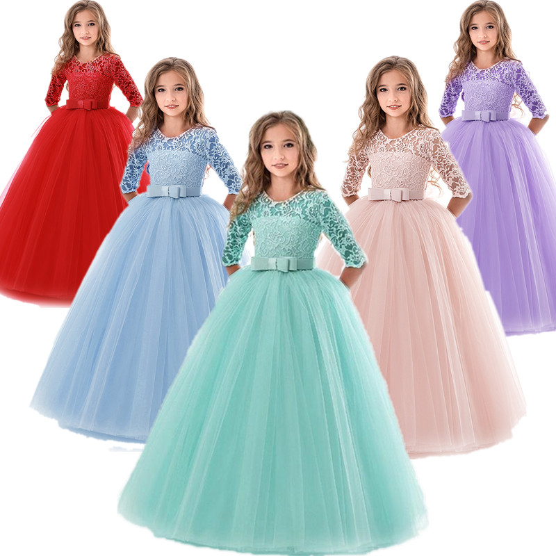 Kids Bridesmaid Lace Girls Dress For Wedding And Party Dresses Evening Christmas Girl Long Costume Princess Children Fancy 6 14Y