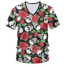 Ifpd европейский размер футболка с v образным вырезом роза цветок