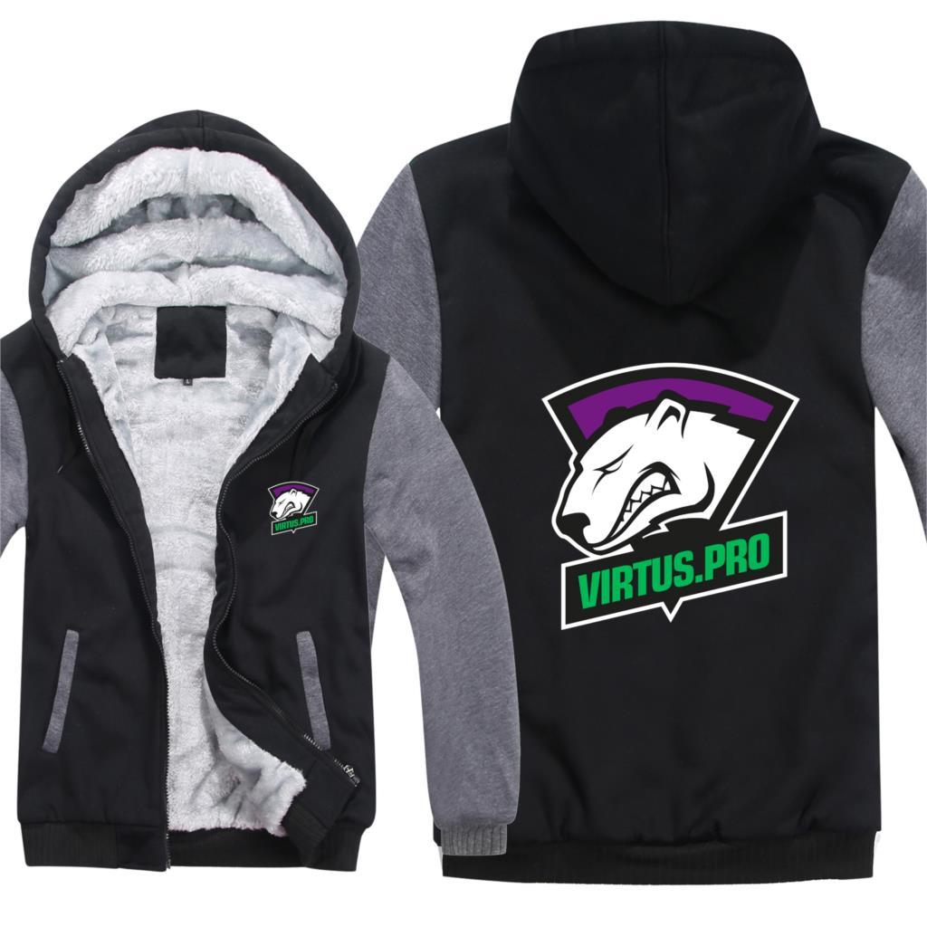 DOTA2 Team Secret Virtus.Pro Hoodies Winter Men Fashion Wool Liner Jacket Virtus.Pro Sweatshirts Men Coat
