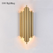 Stainless steel Metal Tube Linving room LED Wall Lamp Glossy/Matte Gold Chrome Hotel Hall Wall Lights Stairs Corridor Sconce