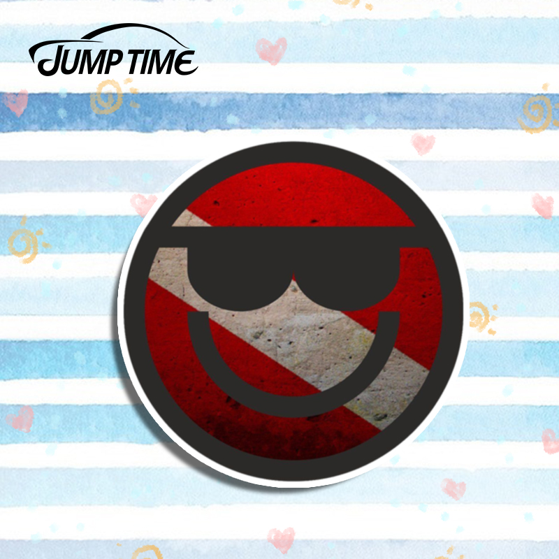 Jump Time 13cm X13cm Scuba Diver Flag Round Sticker Laptop Decal Cartoon Stickers Car Styling Motor Helmet Decor Car Accessories