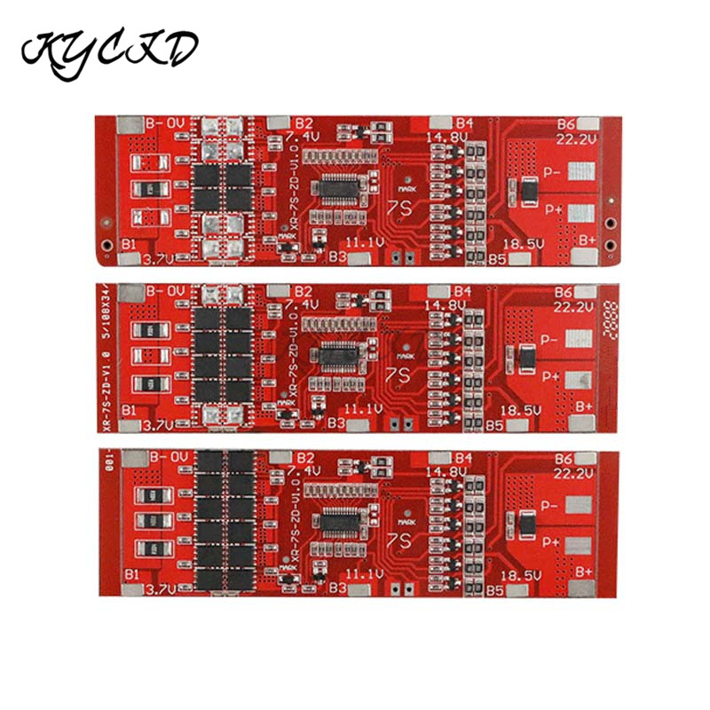 BMS 7S 24V 10A 20A 30A 8650 Lithium Battery Protection Board with Battery Balancer Li-ion Pack BMS for Power Bank Charging Drill