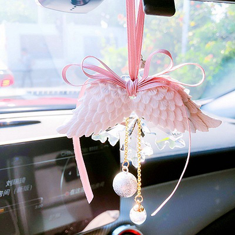 Car Pendant Angel Wing Aromatherapy Car Rearview Mirror Pendant Angel Wings Water Tone Bell Pink Girl Heart CAR028-in Ornaments from Automobiles & Motorcycles