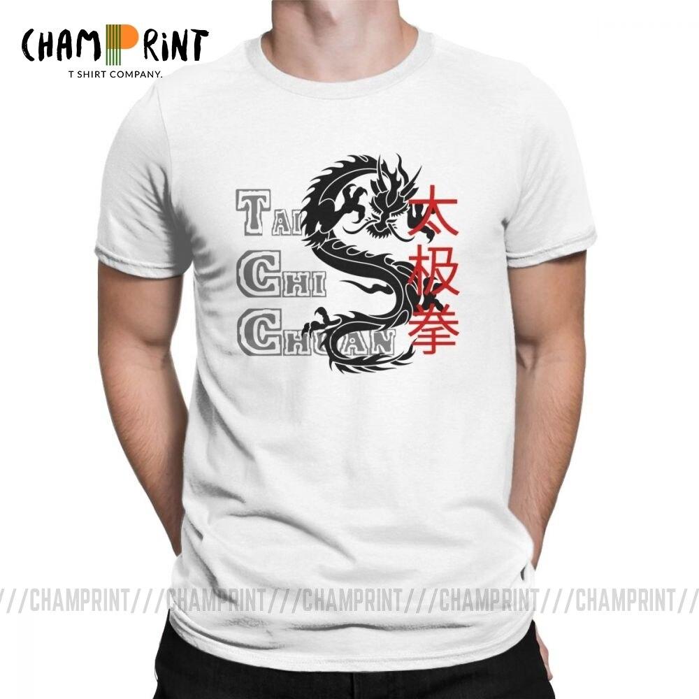 Мужские футболки Tai Chi Chuan Забавные футболки из чистого хлопка с коротким рукавом Китайский дракон футболки рубашки с круглым воротником Большие размеры