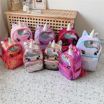 Unicorn Sequin Schoolbag Multi Color Kids School Bags for Girls Backpack Mochila Escolar Book Bag Teenager Student