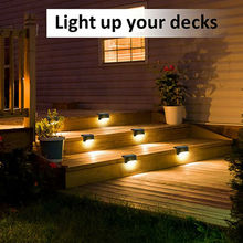 8PCS LED Solar Powered Fence Wall Lights Step Path Decking Outdoor Garden Lamp