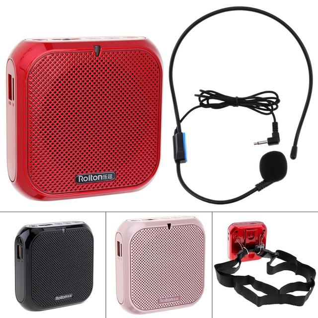 Rolton K400 Portable Audio Speaker Megaphone Voice Amplifier Loudspeaker Microphone Waist Band Clip Support FM Radio TF MP3