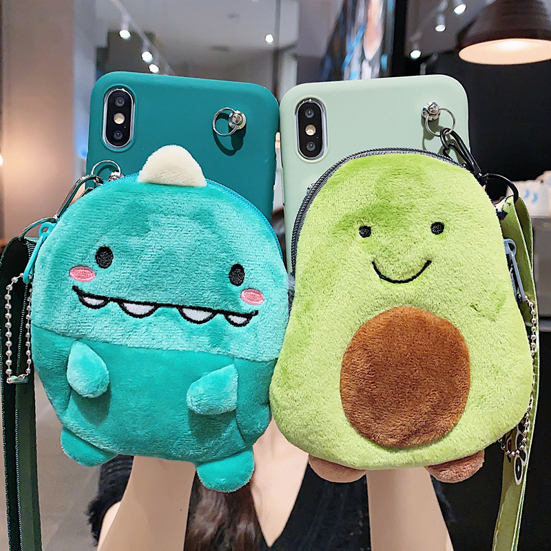 3D Dinosaur Avocado Wallet lanyard Crossbody <font><b>Phone</b></font> <font><b>Case</b></font> For <font><b>Samsung</b></font> Galaxy Note 8 9 10 <font><b>S7</b></font> S8 S10 Plus Soft Silicone Strap Cover image