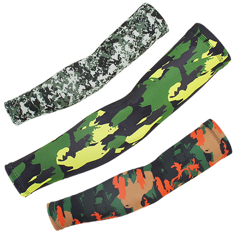 1 Pair Multi Camouflage Ice Silk Arm Sleeves With Silicone Antiskid Sun Protection Outdoor Sports Cycling Fishing Arm Warmers