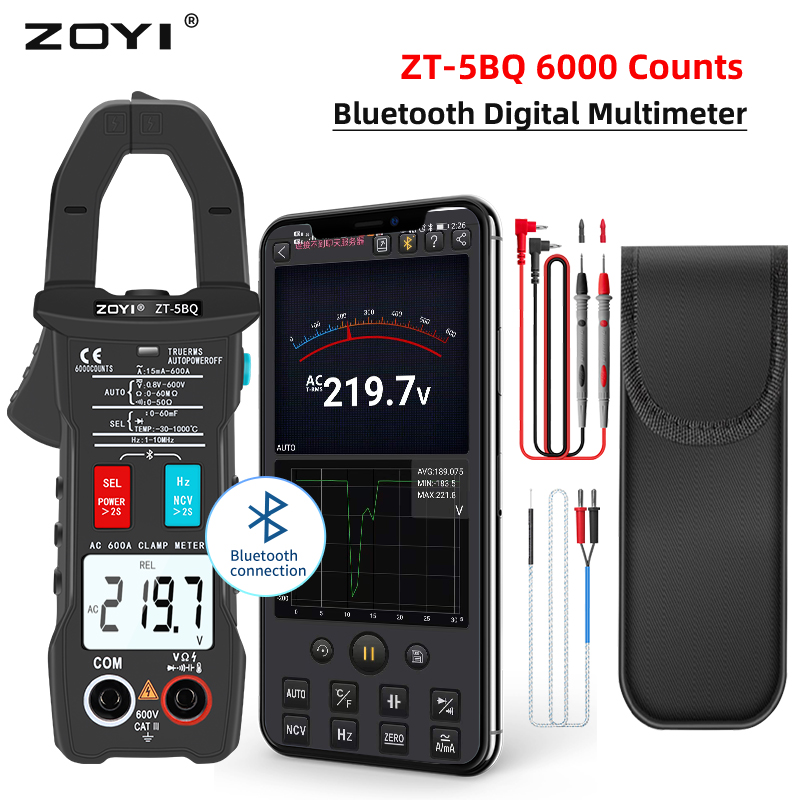 ZOYI ZT-5BQ Digital Bluetooth Multimeter Clamp Meter AC/DC Voltmeter Current Pliers Amperometric Meter Ammeter Auto Range Tester