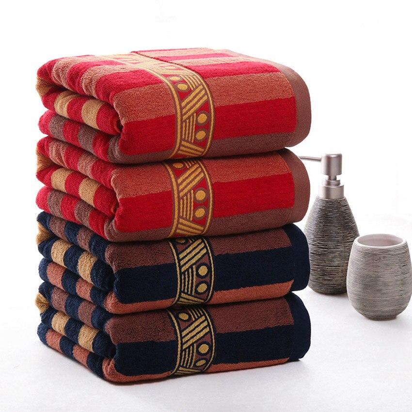 Stripe Towel Set Face Towel Large Thick Bath Spa Sports Towel Home 100% Cotton Bathroom For Adults Kids Hotel Serviette De Bain