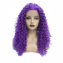 цена на Cosplay Purple Long Kinky Curly Wigs For Black Women Heat Resistant Fiber Hair Glueless Synthetic Lace Front Wigs with Baby Hair