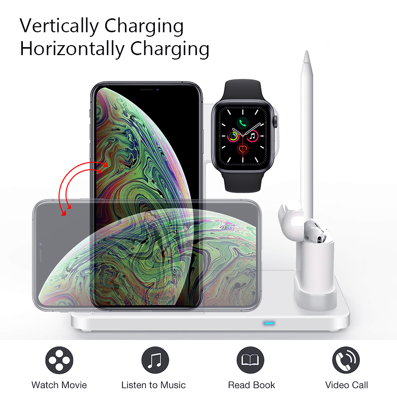 EKSPRAD 4 in 1 Wireless Charger 10W Fast Charging Stand for iPhone 11 Pro XR X Xs Max for Apple Watch 6 5 4 3 Airpods Pro Pencil