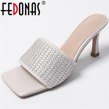FEDONAS Retro Genuine Leather Slingbacks Female Slippers 2020 Summer Newest High Heels Sandals Women Wedding Party Shoes Woman