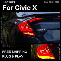 Car Styling Tail Lamp for Honda Civic Tail Lights 2016 2019 Civic LED Tail Light Rear DRL Dynamic Signal Reverse Accessories