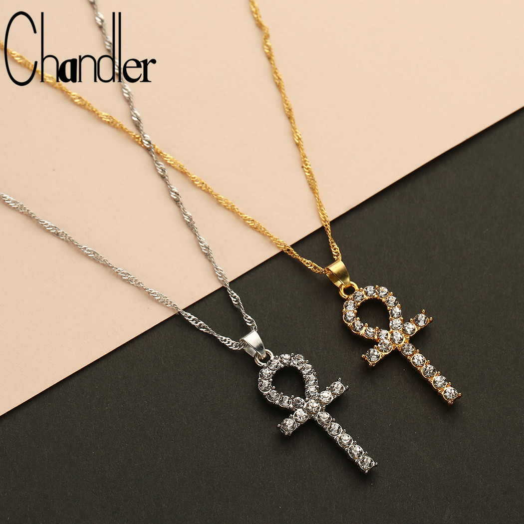 Chandler Ankh Cross Pendant Necklace Chocker Necklaces For Women Enamel Antique Mirco CZ Pendant India Religious Chokers