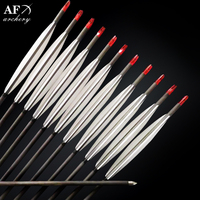 12x 93.5cm Carbon Arrows Turkey feather for Longbow Recurve Bow Hunting with High Quality