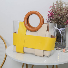 Perspective handbag 2021 summer new colorful round wrist sub mother female bag