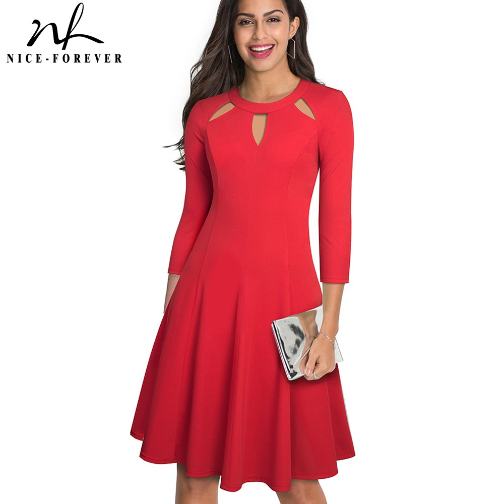 Nice-forever Elegant Pure Color Hollow Out Neckline Vestidos Business Party Flare A-Line Women Swing Dress A189