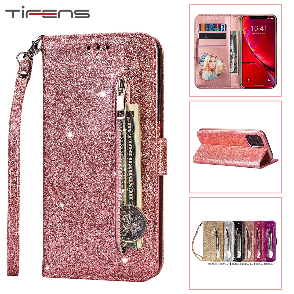 Luxury Bling Glitter Zipper Wallet <font><b>Case</b></font> For <font><b>iPhone</b></font> 11 Pro XS Max XR X <font><b>5</b></font> 5s SE 2 2020 8 7 6 6s Plus Leather Flip Card Cover Coque image