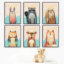 Woodland Animals Fox Deer Owl Raccoon Wall Art Canvas Painting Nordic Posters And Prints Pictures For Baby Kids Room Decor