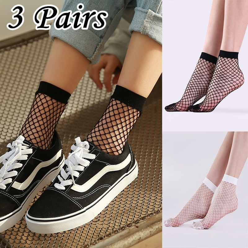 3 Pairs Mesh Femme Sexy Meia Sokken In The Net Fishnet Sock Kapron Paragraph Hollow Ankle Women's Calcetines Nylon Thin Boat