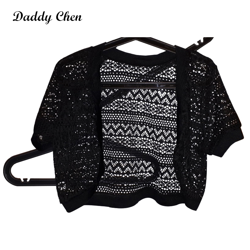 Daddy Chen Ladies Short Cardigan Women Oversize Striped Wool Knitted Sweater Cardigans Open Stitch Short Sleeve Modis Fashion