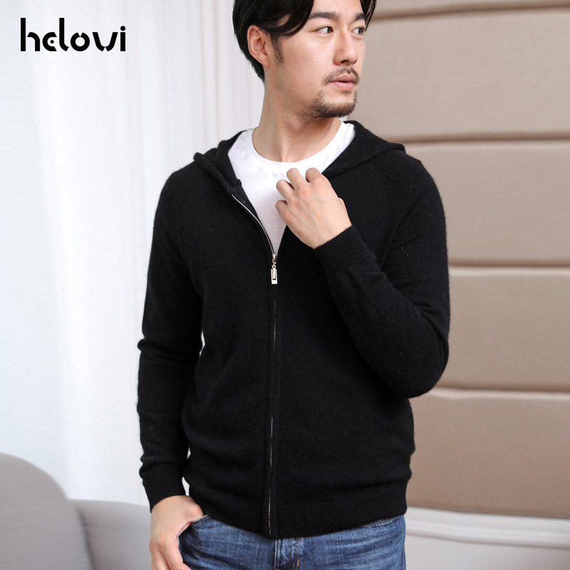 Helovi 2019 New Winter Men'S   Sweater 100% Cashmere  Knit Men Casual Loose Pullover Sweater Large Size Solid Color Retail