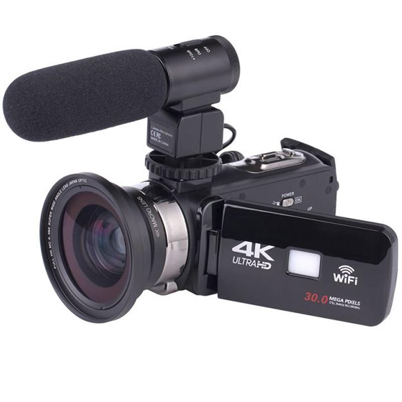 4K WiFi камера 16X зум Цифровая видеокамера широкоугольный объектив профессиональный ручной DV ночная съемка с микрофоном