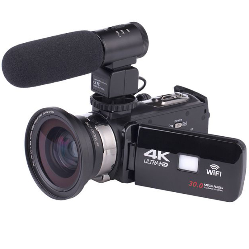 4K WiFi Camera 16X Zoom Digital Video Camcorder Wide Angle Lens Professional Handheld DV Night Shooting with Microphone image