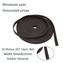 10Meters GT2 Open Synchronous Timing Belt 2GT-6 2GT-10 Width 6mm 10mm Rubber Small Backlash Linear Motion 3D Printe Parts