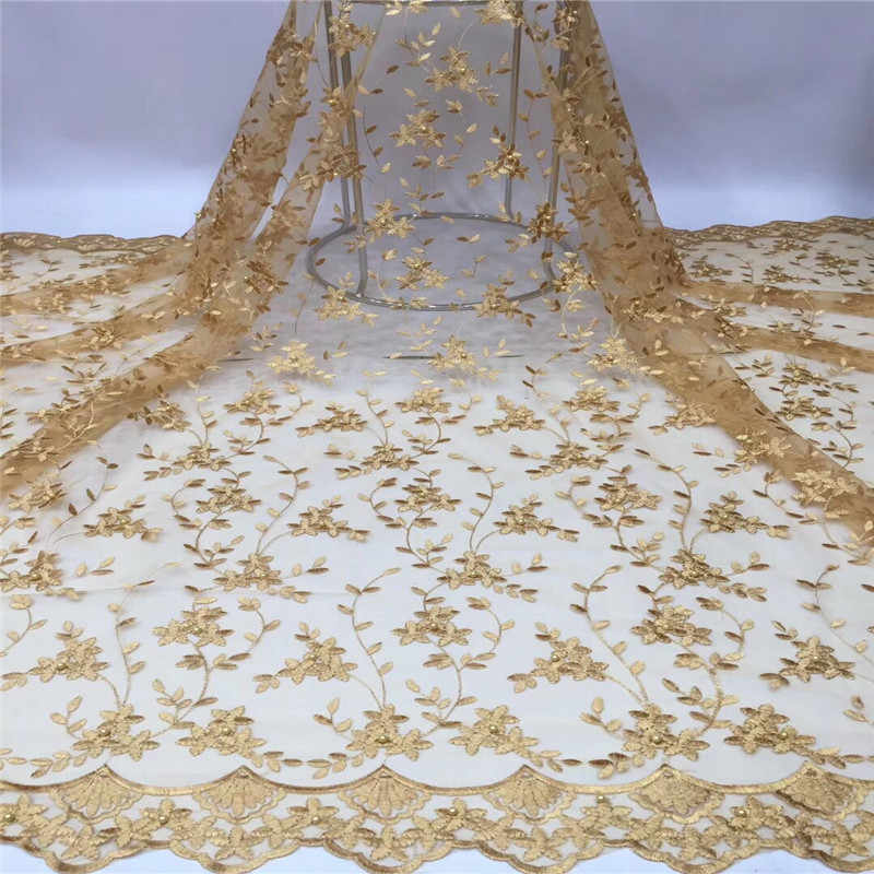 Hot Sale African beads Laces Fabric Embroidered gold Nigerian Guipure French Lace Fabric High quality African French Net Lace Fabric