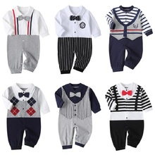 Newborn Baby Boy Girl Romper 2020 Fall Long Sleeves Bowtie Style Bebe Clothes Little Gentle Man Penguin Infant Babe Jumpsuits