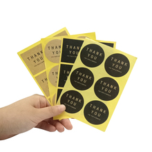 60 Pcs/lot 4 styles Vintage THANK YOU Black Kraft Paper Labels Round and square Sticker Gift Packaging Seal Baking Cards Tools