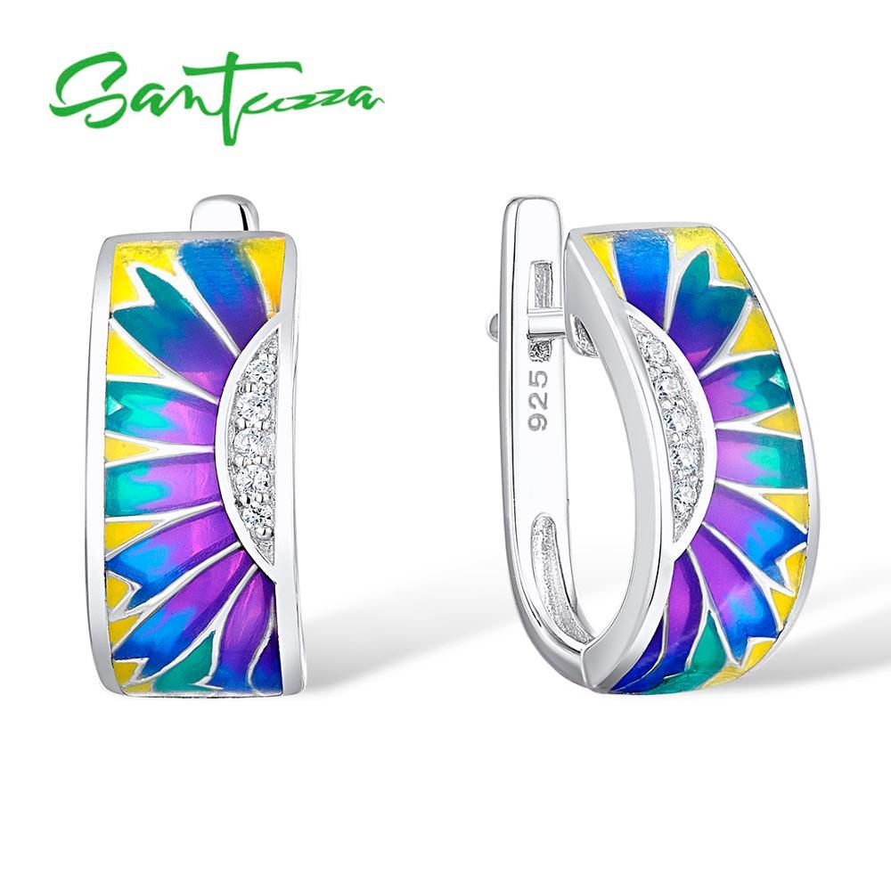 SANTUZZA zilveren oorbellen voor vrouwen 925 sterling zilveren oorbellen met stenen zirconia brincos sieraden kleurrijke emaille
