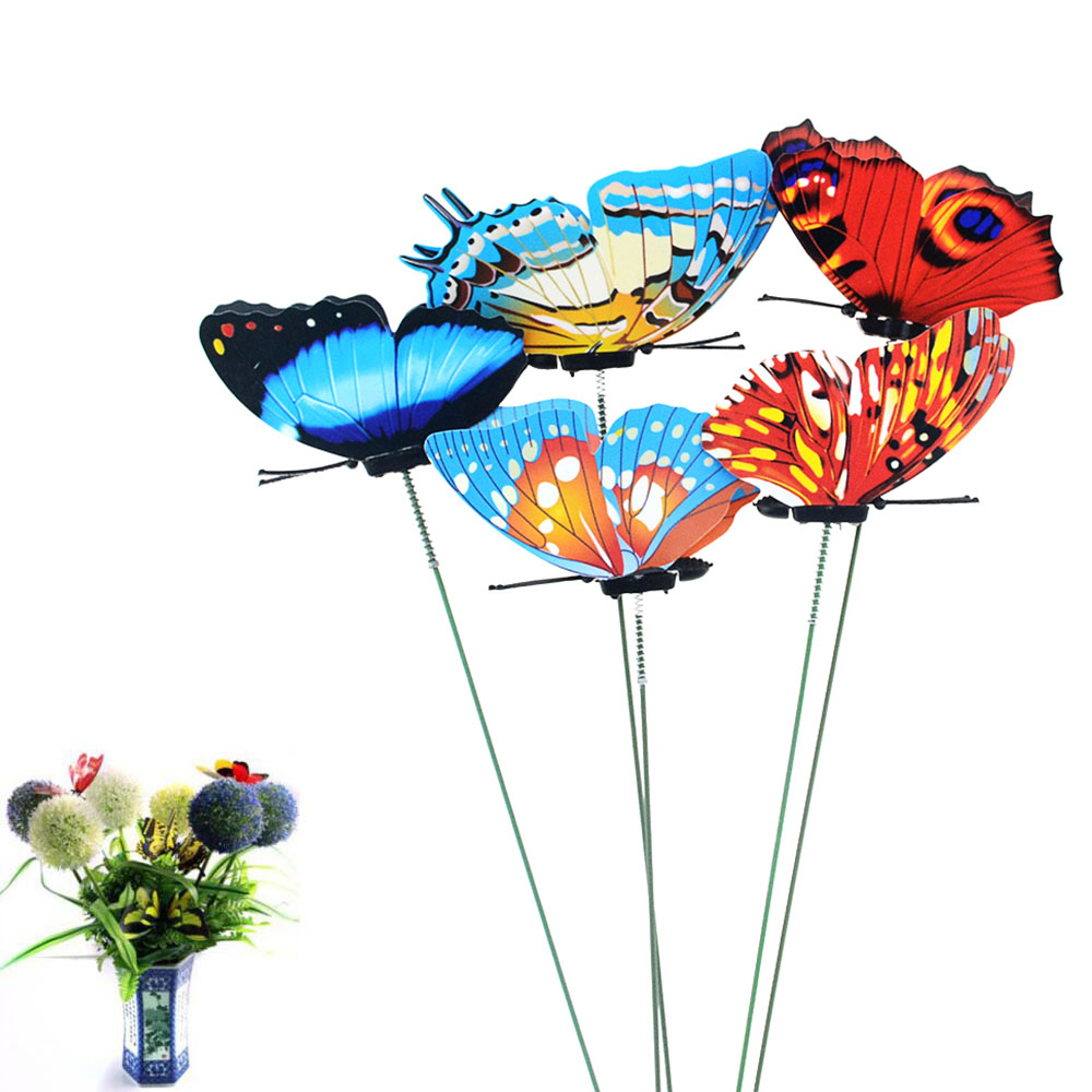 5pcs/lot 7*25cm Butterflies Garden Yard Planter Colorful Whimsical Butterfly Stakes Outdoor Decor Flower Pots Decoration