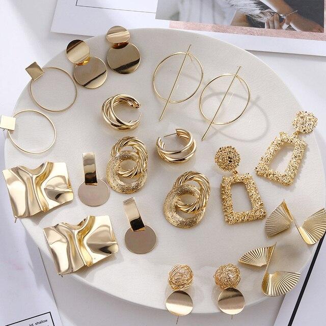 FNIO Fashion Vintage Earrings For Women Big Geometric Statement Gold Metal Drop Earrings 2020 Trendy Earings Jewelry Accessories 1