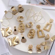 FNIO Fashion Vintage kolczyki dla kobiet duże geometryczne oświadczenie złoty Metal Drop kolczyki 2020 Trendy kolczyki biżuteria akcesoria tanie tanio Ze stopu cynku CN (pochodzenie) Moda Drop Earrings Spadek kolczyki GEOMETRIC Kobiety High Quality Alloy Picture Display
