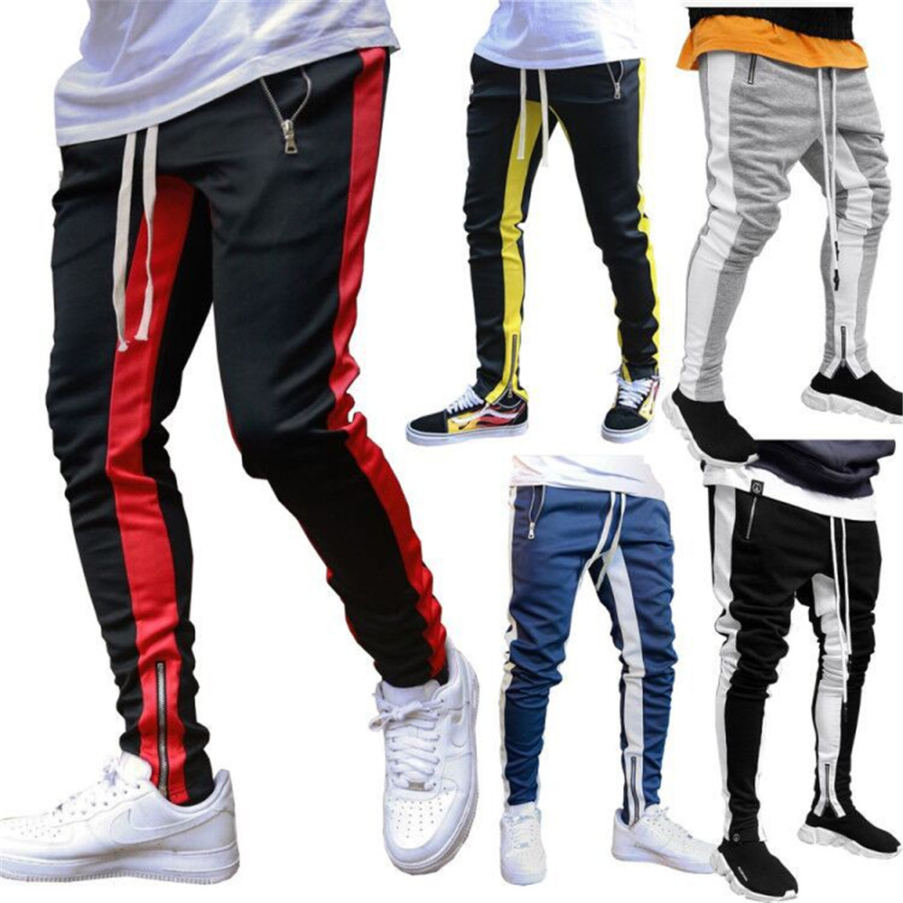 Men Black Casual Track Pants Fashion Hip Hop Fitness Streetwear Trousers Striped Drawstring Joggers Sweatpants Pantalon Homme